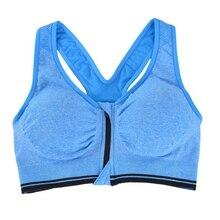 SZ-LGFM-Women's Zip Sports Bras No rims Yoga Bras Tank Top Zip Shakeproof High Intensity Push Up Blue