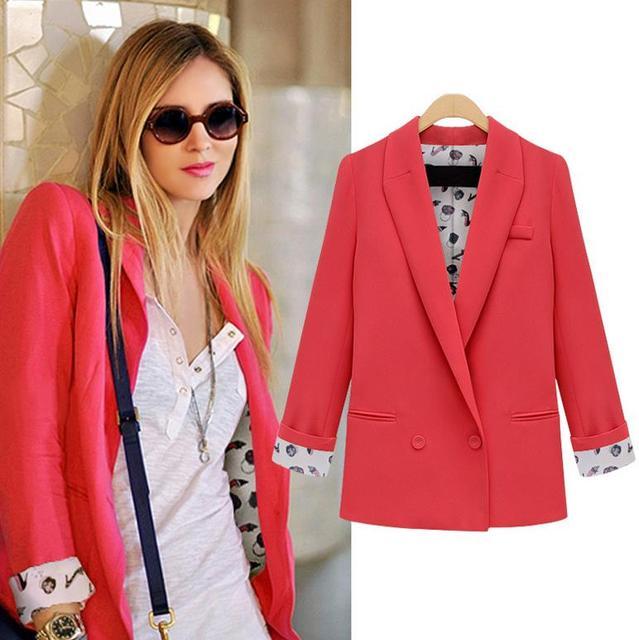 eaa6198046e 2017 new spring autumn suit jacket female loose Blazer Women long Sleeve  Boyfriend Feminino Jackets plus size