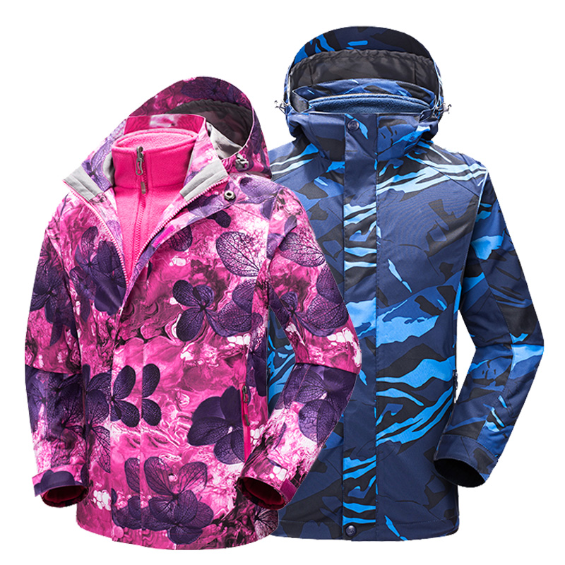 Tectop New Winter 3 in 1 Kids Hiking Jackets Children Boys Girls Outdoor Windproof Warm Two-piece Coat Travelling Hiking 120-160 new winter 3 in 1 kids hiking jackets children boys girls waterproof thermal two piece fleece coats hiking skiing jacket