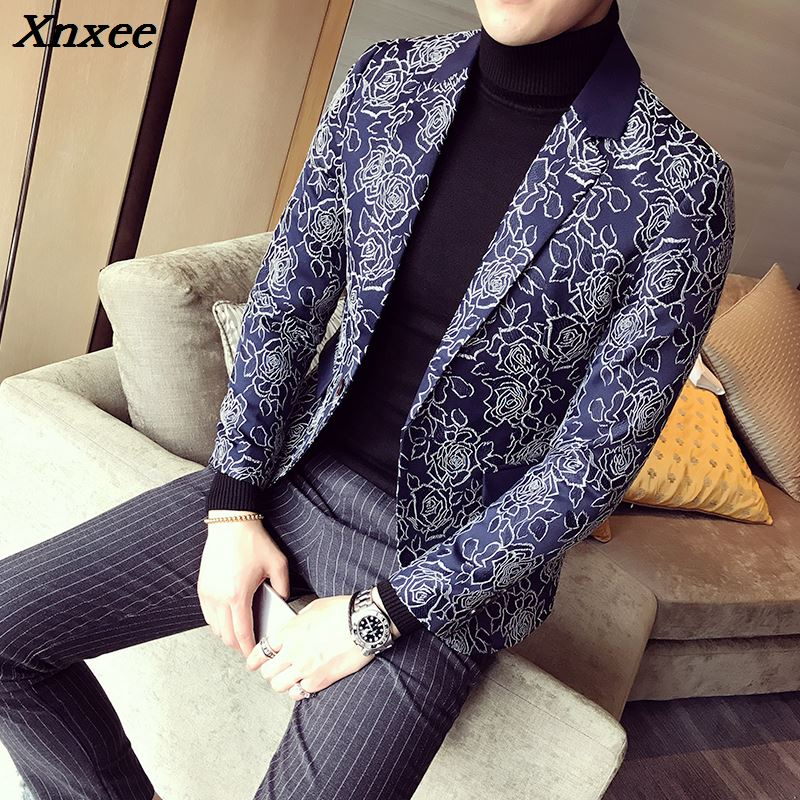 5XL Mens Red Blazers Hombre Blazers Mens Blue Flowers Terno Slim Fit 2018 Social Club Outfits Burgundy Blazers Masculino Pattern