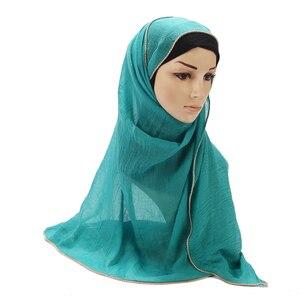 Image 5 - 新ゴールドチェーンヒジャーブスカーフ真珠イスラム教徒綿スカーフチェーン無地ラップショールマキシファッションヘッドカバースカーフ 10pc