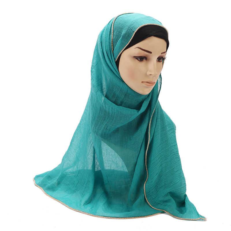 أوشحة الحجاب المسلمة الجديدة من سلسلة الذهب اللآلئ المسلمة من القطن سلاسل أوشحة سادة أوشحة طويلة عصرية بغطاء رأس