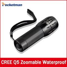 High quality CREE Q5 2000 Lumens Lanterna Waterproof Mini Black LED Flashlight 3 Modes Zoomable Tactical