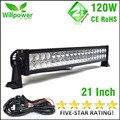 "Free Shipping waterproof 24 volt 22"" 120w 4x4 off road car truck tractor LED light bar 12 volt"