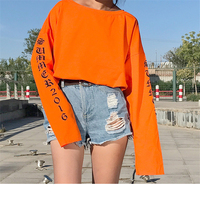 Autumn Ulzzang Korean Style Fashion Loose Comfortable Long Sleeve T Shirt Casual Letter Print Brief Arbitrary