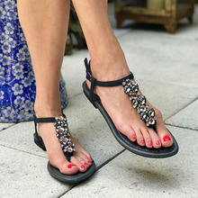 Bohemian Sandals, Soft Juniors Women Summer Shining Rhinestones Chain Sandals T-Strap Buckle Beach Flat elegant Shoes Latest soft beige metallic buckle flat sandals