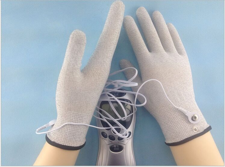 1pair Silver conductive fiber Massage gloves Anti-static/skid electrode gloves + 1set TENS/EMS physical therapy Massage