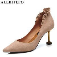 ALLBITEFO Genuine Leather Sheepskin Women Pumps Fashion Ruffles Design Party Wedding Shoes Pumps High Heel Girls