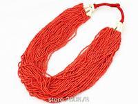 TNL176 Tybetański Biżuteria Czerwony wielowarstwowy naszyjnik moda Czeski naszyjnik Hurtownie tribal Tybet Nepal biżuteria