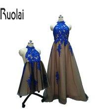 2017 la Madre Y La Niña Una Línea de Apliques de Encaje de Tul Azul Real Por Encargo Formal Largo Vestidos de Noche Para La Fiesta de Boda