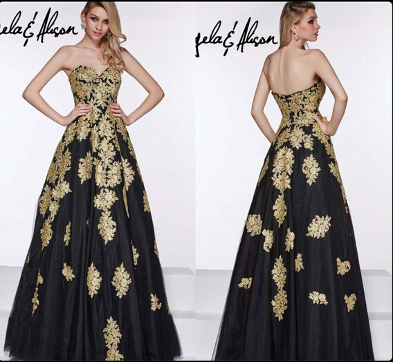 Competitive Price Elegant Women Black Dress Evening With Gold