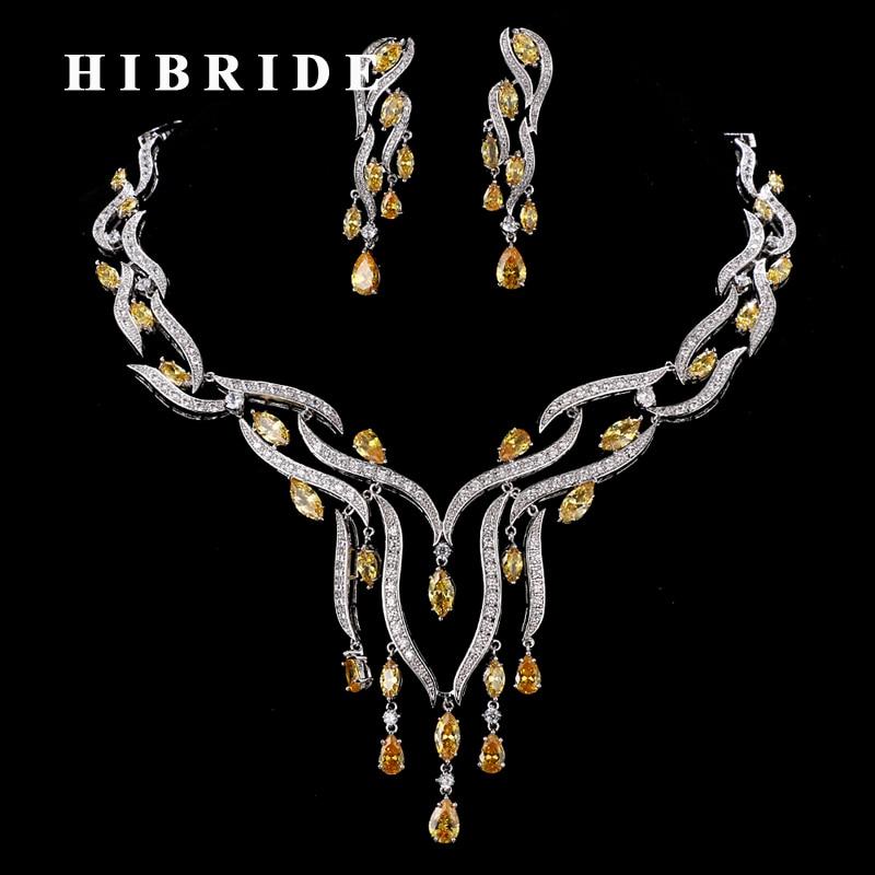 HIBRIDE Luxury 5 színű CZ kő bojt nyaklánc fülbevalók nőknek - Divatékszer