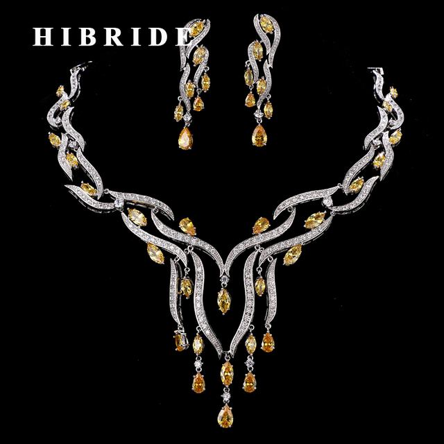 HIBRIDE Luxury 5 Colors CZ Stone Tassel Necklace Earrings Sets Women Bridal Jewelry Set Wedding Gifts For Female N 185