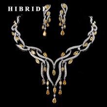 Роскошный женский комплект украшений HIBRIDE из искусственного камня с кисточками, ожерелье и серьги, свадебные подарки для женщин