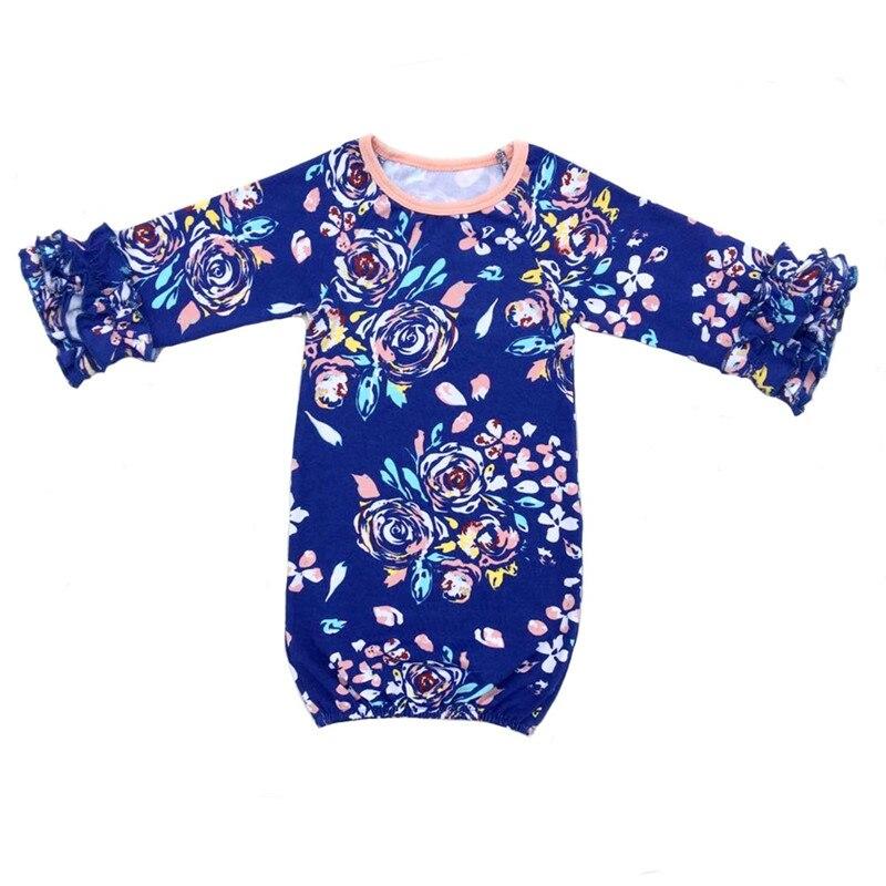 Nieuwe Zak Pasgeboren Slapen Zak Kindje Slaap Gown Kinderen Meisjes Ruche Lange Mouwen Gold Nightgowns Baby Pyjama Jurken