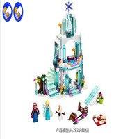 Girl Series Elsa S Sparkling Ice Castle Model Anna Elsa Queen Kristoff Olaf Building Blocks Toys