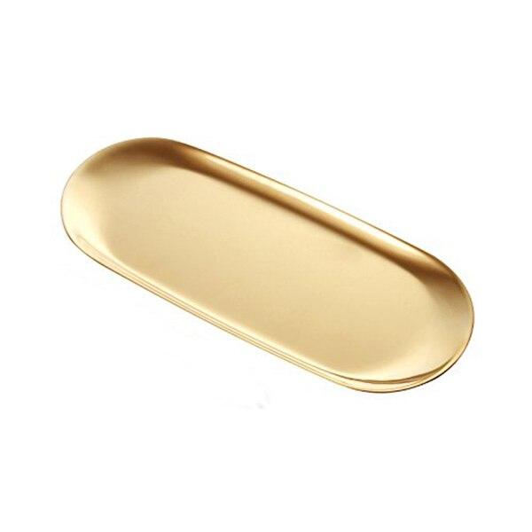 Stainless Steel Towel Tray Storage Tray Dish Plate Tea Tray Fruit Trays Cosmetics Jewelry Organizer, Golden, Oval