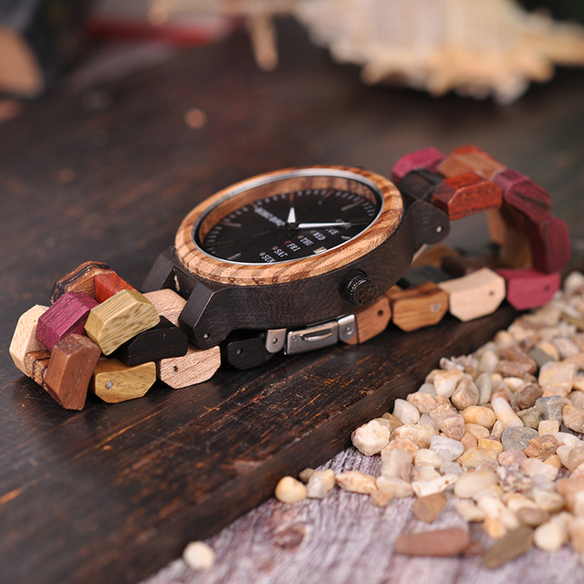 Luxury Designer Auto Date Colors Wooden Watches
