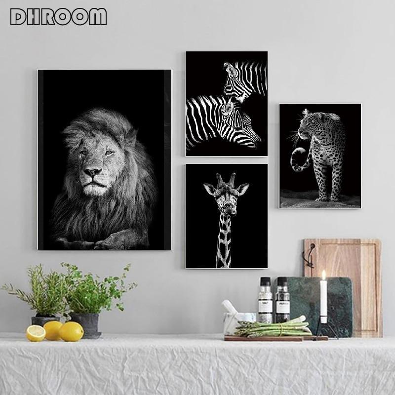 Nordic tuval sanat boyama duvar sanatı hayvan tuval boyama aslan Zebra duvar resimleri posterler baskı oturma odası ev dekor için