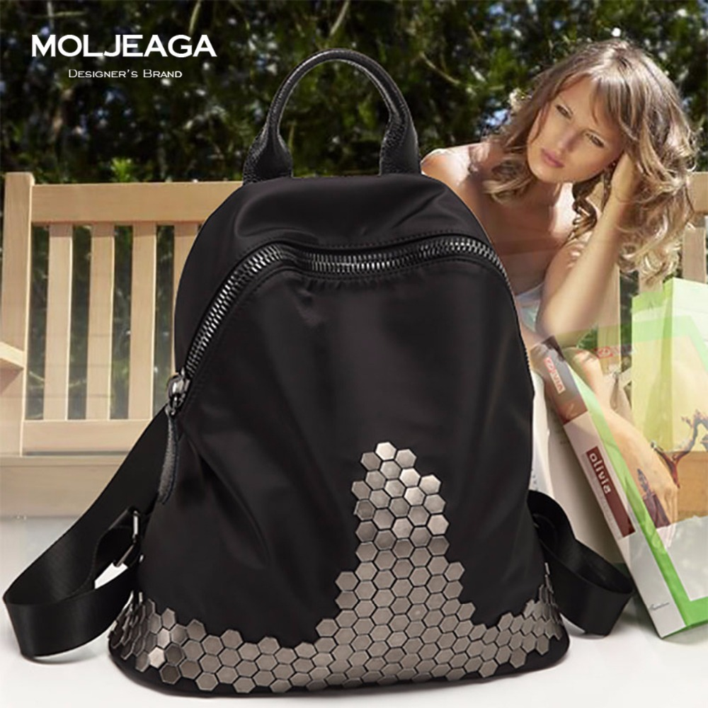 MOLJEAGA Women Rivet Backpack Knapsack Softback School Bag For Teenagers Girls Travel Famous Brands Nylon Waterproof