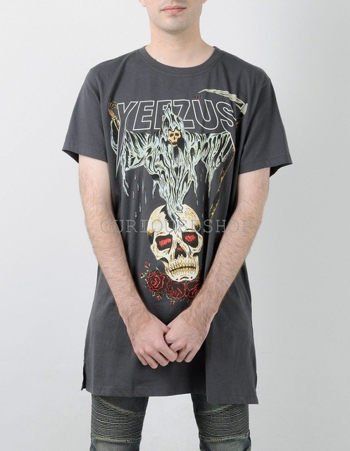 fee25f752 Authentic Kanye West Yeezus Tour Yeezy Merch Death God Skull Logo Sickle  And Roses T-Shirt T Shirt Tee