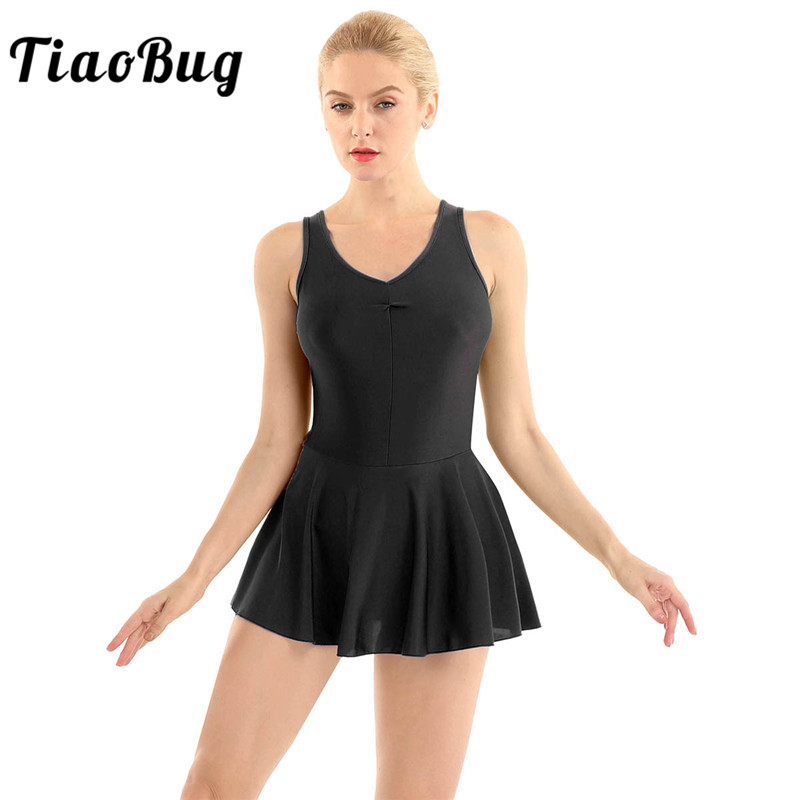 TiaoBug Adult Sleeveless V-neck Solid Color Women Ballet Tutu Gymnastics Leotard Dress Figure Skating Lyrical Dance Wear Costume