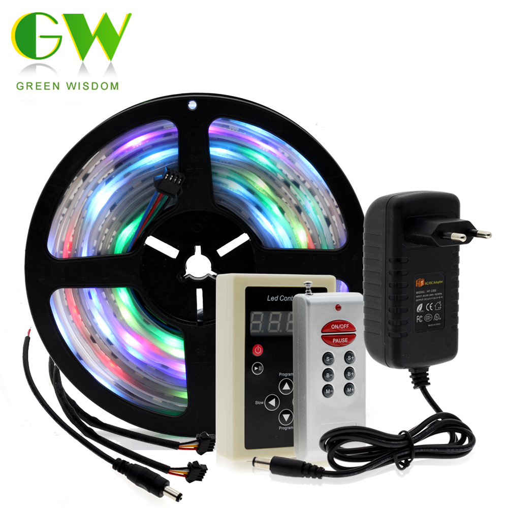 6803 IC Magic Dream Color RGB LED Strip 5050 30LED/m Chasing Lights + 133 Program RF Magic Controller + Power Adapter magic dream color led strip rgb 5050 6803 5m 16 4ft tiras tape 133 color change rf remote controller power adapter dhl 5set page 8