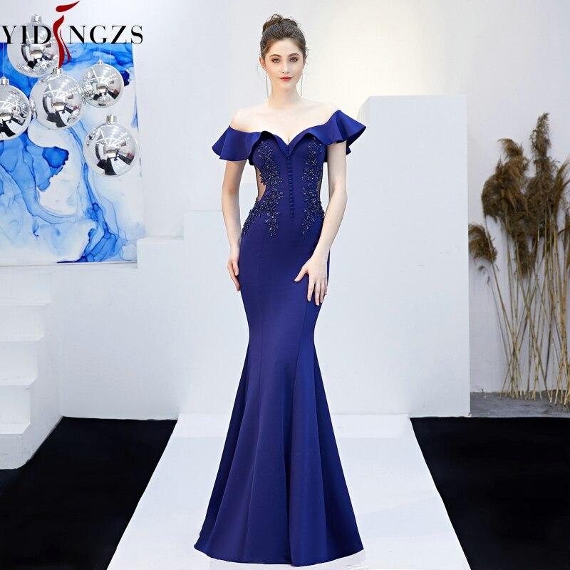 YIDINGZS Appliques transparentes perlées longue robe de soirée à l'épaule élégante robe de soirée YD16288