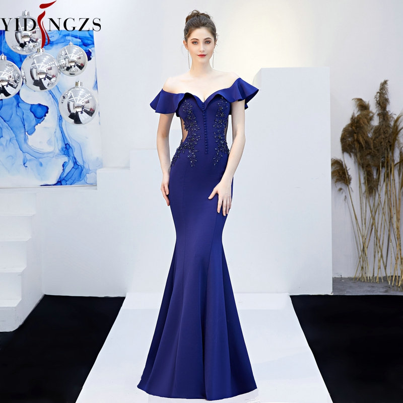 YIDINGZS See-through Appliques Beaded Long Evening Dress Off the Shoulder Elegant Evening Party Dress