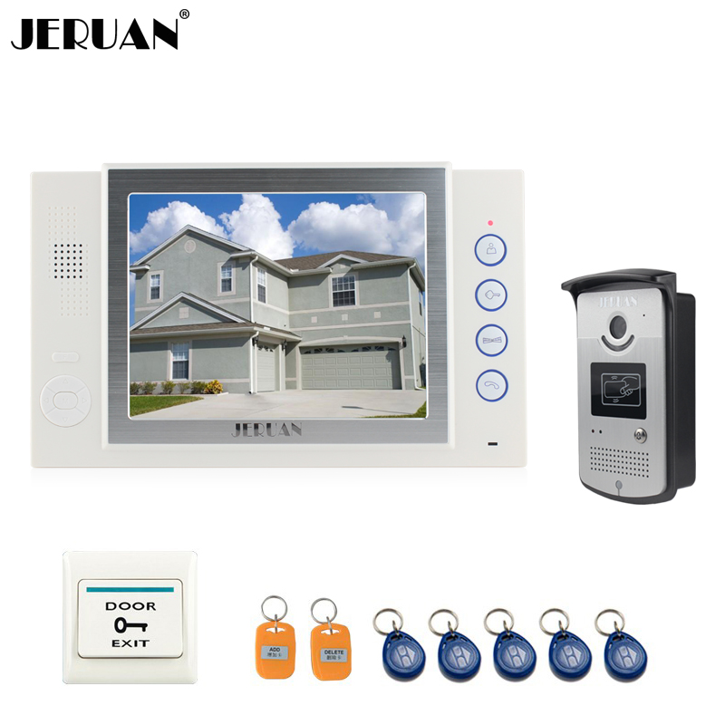 JERUAN 8 inch video door phone doorbell intercom system home access control system RFID video recoreding photo taking