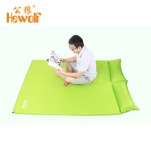 Hewolf 2 Person Camping Mat Automatic Inflatable Mattress Air Sleeping Cushion Moisture Pad with Pillow for Outdoor Picnic