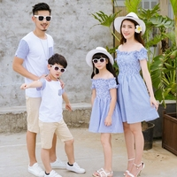 Summer Holiday Family Matching Outfits Off Shoulder Mom And Daughter Striped Dress Dad And Son Short T shirt Family Clothing