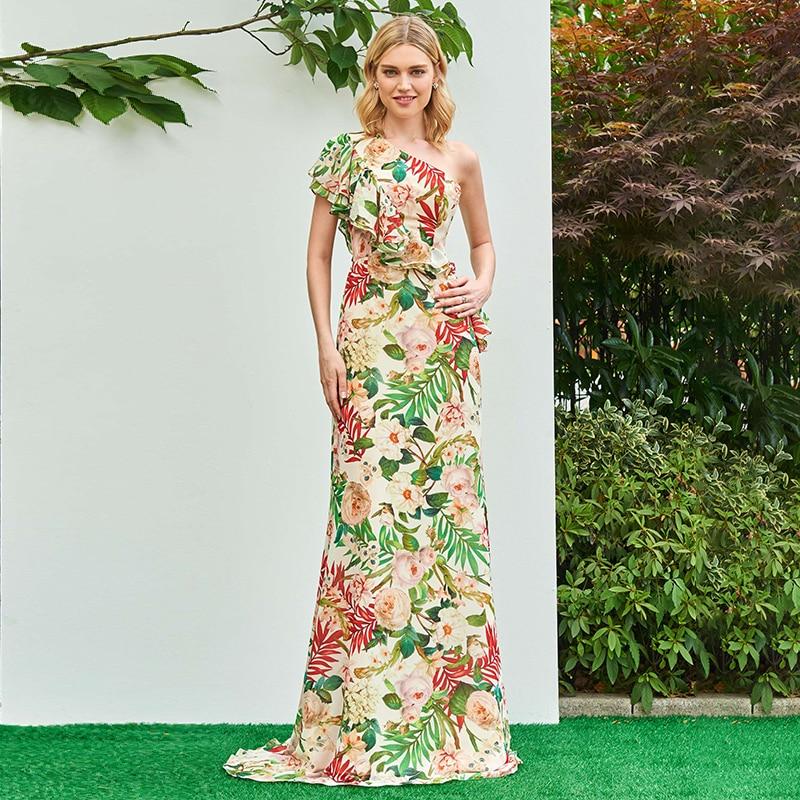 Tanpell printed prom dress sexy one shoulder floor length sheath dresses women fashion ruffles formal evening