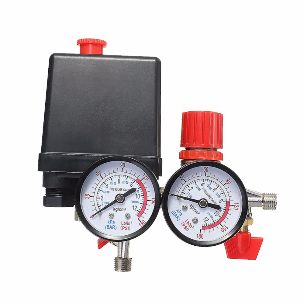 1/4 NPT 120PSI Air Compressor Pressure Valve Switch Auto control Manifold Relief Regulator Gauges