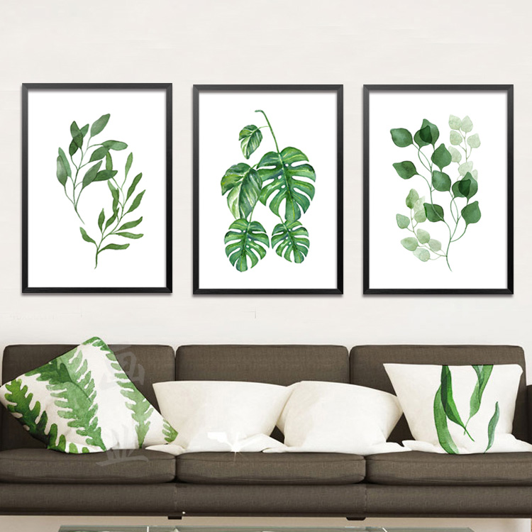 Modern Wall Art For Dining Room: Modern Simple Green Plant Leaves Paintings On Canvas Wall Art For Dining Room Bedroom