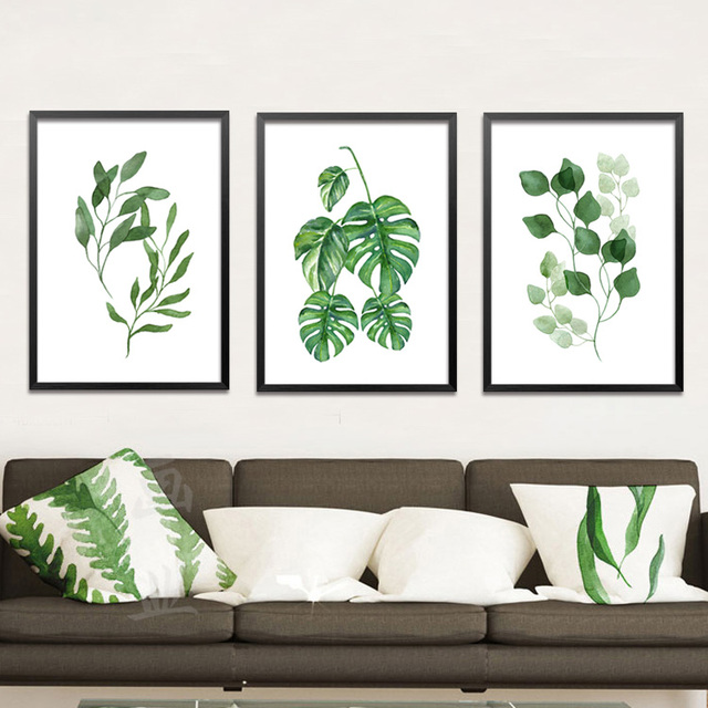 Paintings for green leaf paintings for Framed prints for dining room