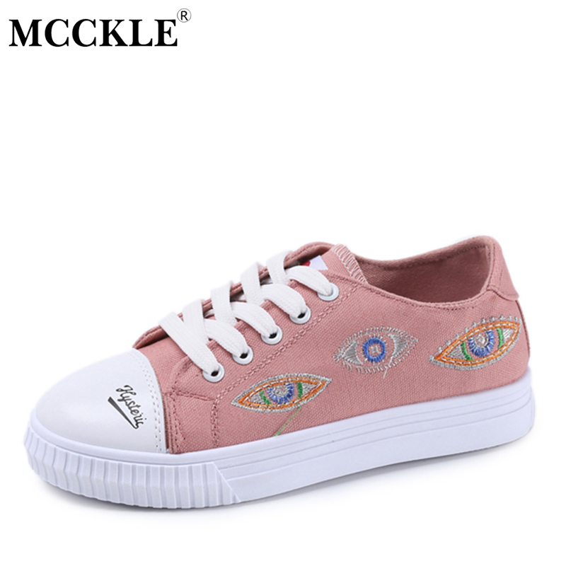 MCCKLE Women's Flat Lace Up Platform Embroidery Black Vulcanize 2017 Female Fashion Canvas Casual Style Brand Rubber Shoes fashion embroidery flat platform shoes women casual shoes female soft breathable walking cute students canvas shoes tufli tenis