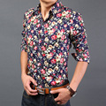 New 2016 spring chinese style fashion floral print long sleeve shirt men slim fit party dress shirts size m-3xl 13-colors /CS11
