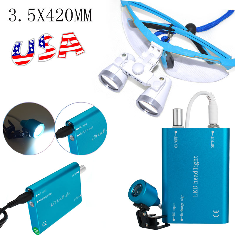New Dentist Dental Surgical Medical Binocular Loupes 3.5X 420mm Optical Glass Loupe Blue Color|silver tableware|glass canister with lid|glass latch - title=