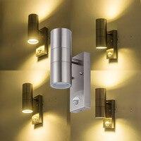 AC85-240V de acero inoxidable de pared LED Luz de inducción sensor de movimiento de la pared de la lámpara uso hoteles de las comunidades y de villa Jardín de luz led
