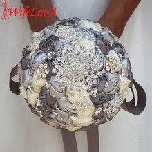 Diamante Nastro di Seta di Strass Rosa Artificiale Fiori da Sposa Bouquet da Sposa di Perle di Cristallo Damigella Donore Dargento Bouquet PL001 D