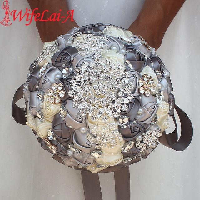 Diamante fita de seda strass rosa flores artificiais casamento nupcial bouquet cristal pérolas dama de honra prata bouquets PL001 D