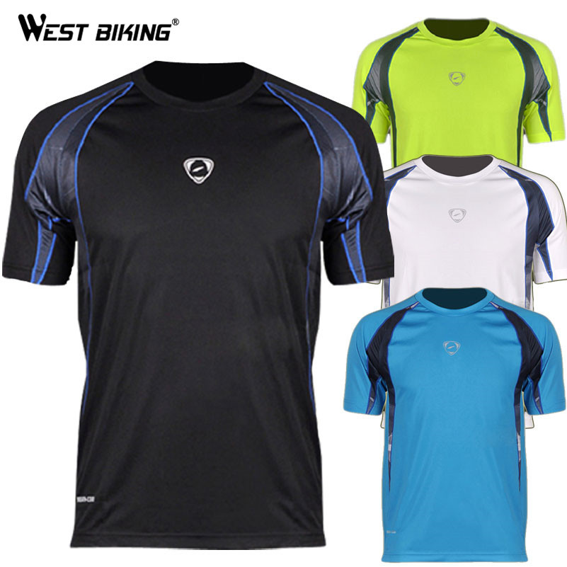 WEST BIKING Brand Design Men O-neck Cool T-shirts Male Bike Sports Quick Dry Shirts Bicycle Running Cycling Jersey image