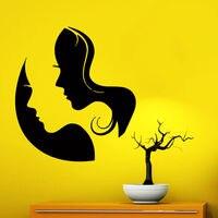 Face Wall Decals Beauty Salon Decal Vinyl Sticker Hairdressing Hair Salon