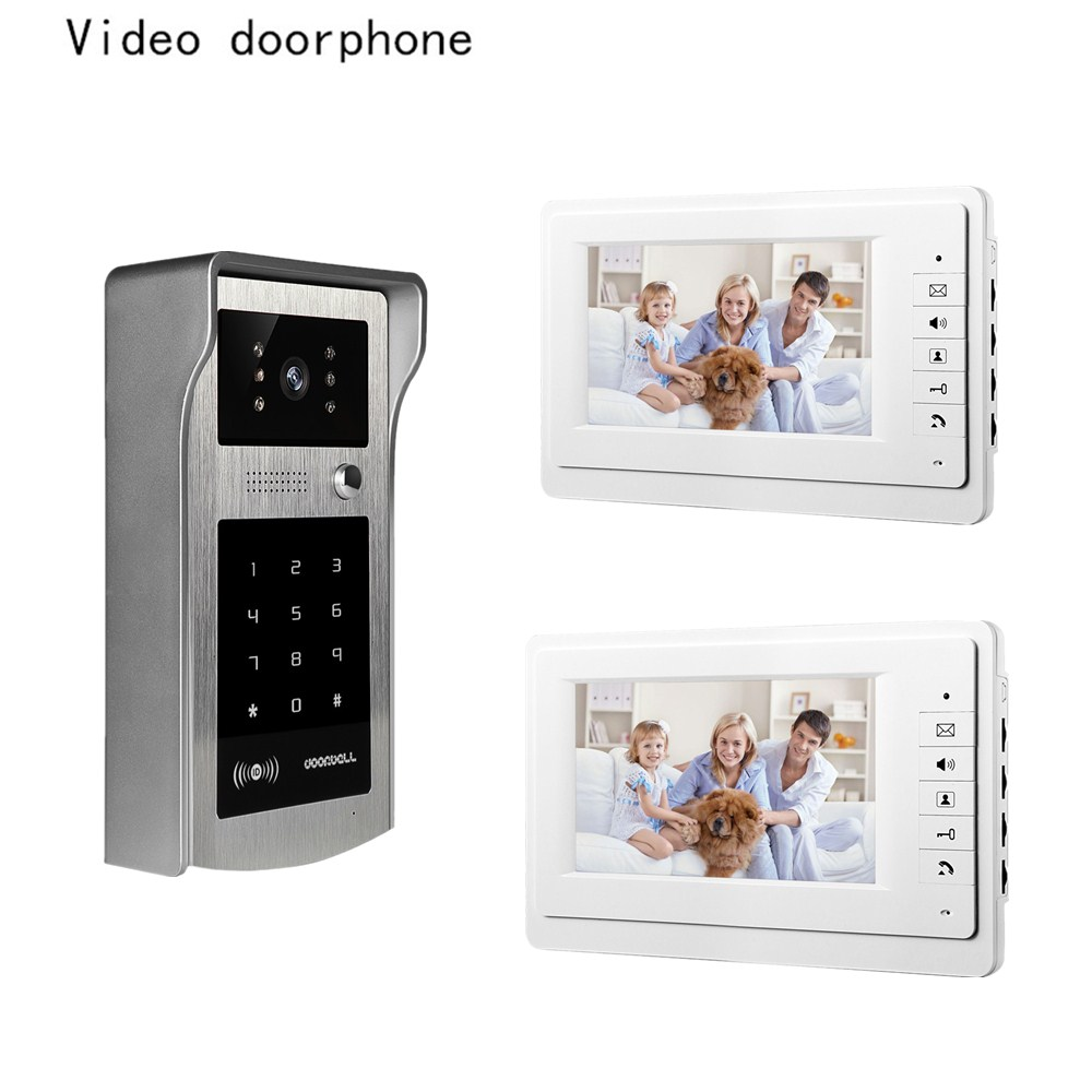 7 Inch TFT-LCD Hd Screen Wired Video Doorphone System For Villa 2 Monitor With One Metal Outdoor Unit RFID&password Unlock Door