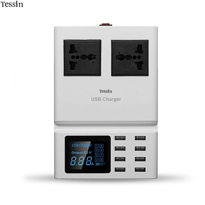 TESSIN Multi Port USB Charger 8A LED Digital Display 2 Outlet AC Socket 2500Watt Charging Station For Smartphone DV Mp3 Adapter