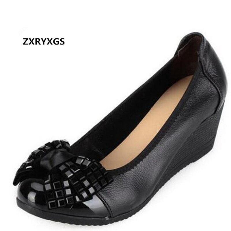 2018 Новый Демисезонный со стразами и бантом обувь из натуральной кожи модная повседневная женская обувь танкетка обуви на высоких каблуках ...