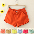 2015 Summer Shorts Candy Color Women's Elastic Waist Drawstring 100% Cotton Casual Shorts Beach pants Female Hot Short Pants