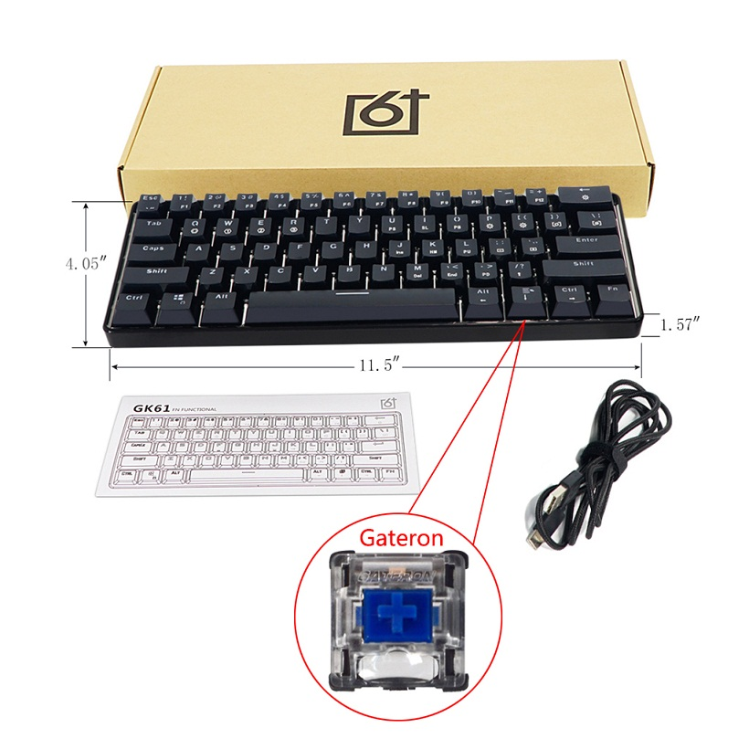 GK61 61 Key USB Wired LED Backlit Axis Gaming Mechanical Keyboard For Desktop(China)