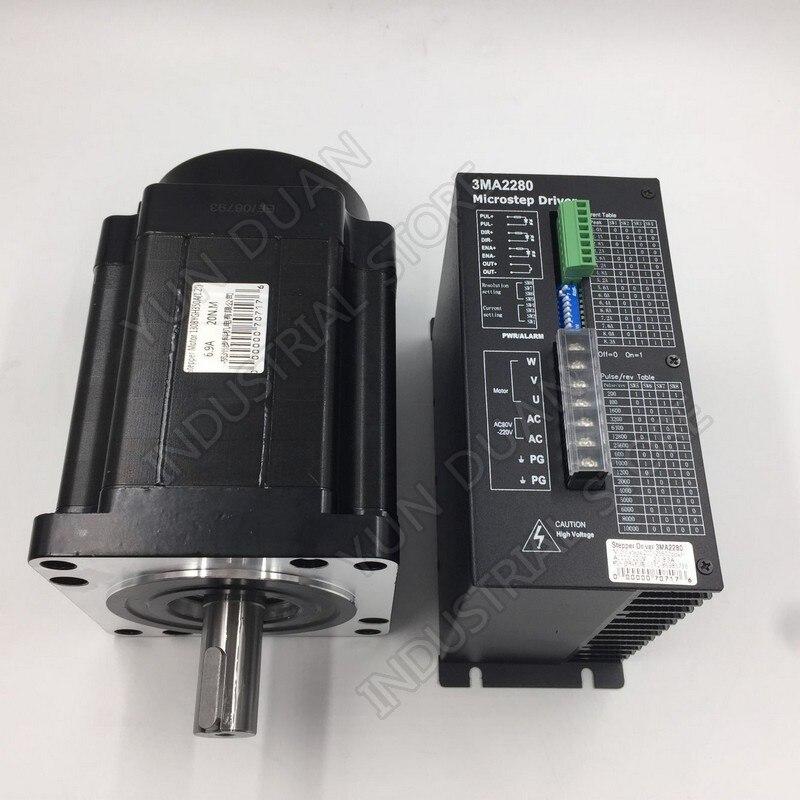 12Nm 110mm NEMA42 Kit de pilote de moteur pas à pas 3PH 32 DSP AC18-220V 128 Microstep avec ventilateur de refroidissement couple élevé pour CNC